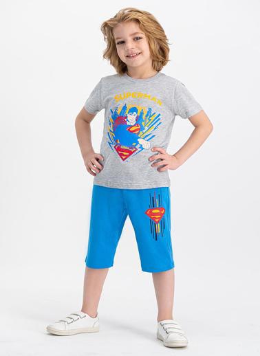 Superman  Lisanslı Grimelanj Erkek Çocuk Kapri Takım Gri